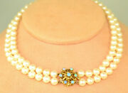 Honora 7-7.4 Mm Pearls 15.5 2-strand Choker Necklace Fancy 14k Gold Opal Clasp