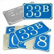 French Traditional Blue House Number Door Gate Plate Metal Sign Plaque 100-999