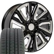 Oew 22x9 Wheels And Tires Fit Chevy Gm High Country Black W/chrome Bda