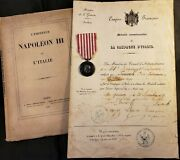 Napoleon Iii Campaign Of Italy Lot - Book, Diploma, Silver Memorial Medal 1859
