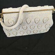Vintage Lennox Bags Off White Cream Feather Seed Bead Purse 50s 60s