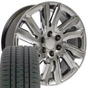 Oew 22x9 Wheels And Tires Fit Chevy Gm High Country Hyper Black W/ Chrome Bda