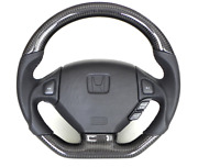 Carbon And Leather Grip Flat Bottom Shape Steering Wheel For Honda Acura Nsx Na1 2