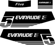 Evinrude Outboard 5hp Single Color Decal Set 1979