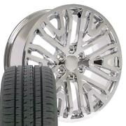 Oew 22x9 Wheels And Tires Fit Chevy Gm Cadillac 22 Rst Chrome Bda