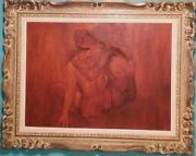 Vintage Oil Painting Canvas Nude Men And Women Signed John R.grabach 37.5x30 In