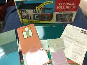 Vintage Marx Large Metal Two Story Colonial Doll House In Box Original Usa Made
