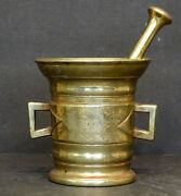 1700and039s 1800and039s Antique Vintage Brass Bronze Mortar And Pestle Apothecary Pharmacy