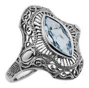 Victorian Style 1.5 Carat Blue Topaz Filigree Ring - Sterling Silver