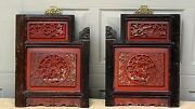 Pair Antique Chinese Wood Carved Relief Red Lacquered Foo-lion Temple Panels