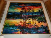 Daniel Wall Painting Lake Afternoon Giclee On Canvas Hand Embellished/signed