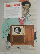 1951 Admiral Television Advertisement, 21 Inch Cabinet Tv Record Player Console