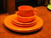 1936 Fiesta Ware 5 Piece Place Setting Red With One Extra Dinner Plate