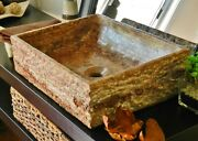 Farmhouse Style Bathroom Stone Vessel Sink Travertine Rustic Chiseled Brown Red