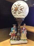 Vintage Rare Table Lamp Ball Glass With Ornament Gold Marble Base Made Italy