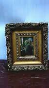 Antique Old Master Dutch Oil Painting Of Grandparents Reading Grandsonand039s Letter