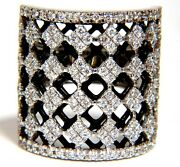 1.82ct Diamonds Bead Set Sandwiched Black Underlay 3d Grill Band Ring 18kt+