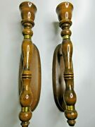 Vintage Wooden Hand Turned Candle Holder Wall Sconces Pair Tall Mid-century