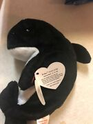 1996 Style Ty Waves Whale Beanie Baby With Echo Dolphin Tag Error No Star Stamp