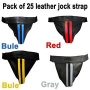 Menand039s Real Leather Jockstrap Thong Sexy Underwear Brief G-string Pack Of 25 New