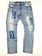 Brand New Embellish Jeanand039s Menand039s Size 38 Distressed Rip And Repair Denim Msrp 140