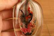 Chinese Natural Hair Crystal Hand Painting Cock Snuff Bottle