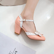 New Ladies Hollow Out Pointed Toe Bowknot Dating Party Wedding Buckle High Heels