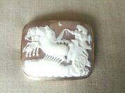 Antique Victorian 14k Rectangular Shell Cameo Brooch Maiden Driving Carriage