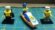 Lego Minifigure Set - City Series 60011 Surf Rescue Boat And 2 Vintage Lifeguards