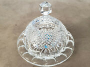 Rare Vintage 24 Full Lead Crystal West German Butter Dish With Dome Cover.