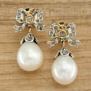 14 K Kt Yellow Gold Cultured Pearl And Diamond Stud Drop Style Antique Earrings