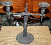 Vintage Gothic Medieval Double Arm Candelabra Candle Holder 6 Wrought Iron