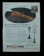 1926 Paper Ad Toy Train Railroad Ives Electric And Mechanical Trains