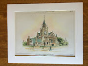 Congregational Church, Whitinsville, Ma, 1899, Henry Phillips, Original Hand Col