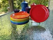 Set 8 Salad Bistro Plate Turquoise Scarlet Daffodil Mulberry Fiesta 7 1/4 New