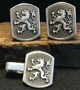 Vtg Griffon Cuff Links And Tie Tac Silver Tone Swank