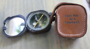 Vintage Us United States Military M2 Compass W/ Leather Case Wwii Kueffel Esser