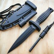 7 Double Edge Military Tactical Hunting Dagger Neck Knife + Fire Starter Stick