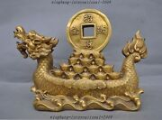 12 Chinese Fengshui Brass Dragon Dragons Ship Boat Coins Yuanbao Wealth Statue
