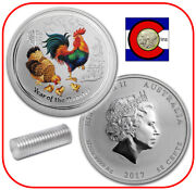 2017 Lunar Rooster 1/2 Oz Silver Colorized Australia/australian-roll Of 20 Coins