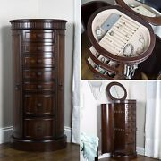 Floor Jewelry Armoire Box With Mirror Large Wood Cabinet Storage Organizer Stand