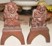 Antique Punch And Judy Cast Iron Andirons