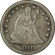 1861-s Liberty Seated Quarter Vf Uncertified