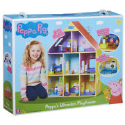 Peppa Pig Peppaand039s Wooden Playhouse Set With Peppa And George Figures - 0pp-07004