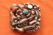 Vintage Artist Made Sterling Silver Turquoise Coral Scorpion Western Belt Buckle