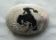 Vtg Johnson Held Cowboy Horse Rodeo Inlay Handcrafted Western Belt Buckle