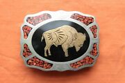 Vtg Johnson Held Buffalo Coral Brass Inlay Hand Crafted Western Belt Buckle
