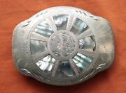 Vintage Johnson Held Abalone Inlay Hand Crafted Western Belt Buckle