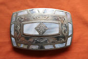 Vintage Johnson Held Mother Of Pearl Inlay Hand Made Western Belt Buckle