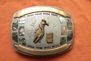 Vintage Johnson Held Abalone Coral Inlay Cowgirl Rodeo Hand Crafted Belt Buckle